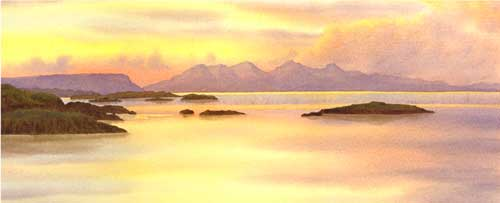 Sunset, the Isle of Rum from Arisaig